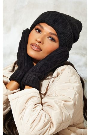 PRETTYLITTLETHING Women Gloves - Recycled Chunky Cable Knit Mittens