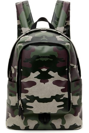 Burberry Men Luggage - Green Camo Canvas Backpack