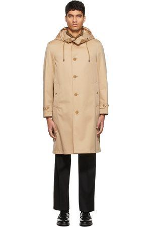 Burberry Men Jackets - Beige Gabardine Hooded Coat