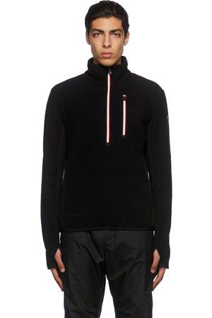 Moncler Men Sweatshirts - Black Zip Mock Polo Neck Sweatshirt