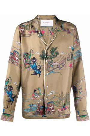 CANALI Men Long sleeves - Graphic-print long-sleeve silk shirt