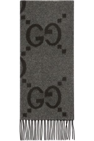 Gucci Men Scarves - GG jacquard cashmere scarf - Grey
