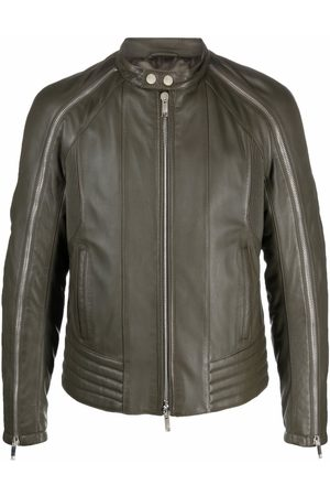 Les Hommes Band collar leather jacket