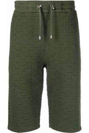 Balmain Men Sports Shorts - Raised monogram drawstring shorts