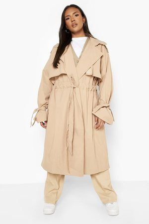 Boohoo Womens Plus Tie Sleeve Ruched Trench Coat - - 12
