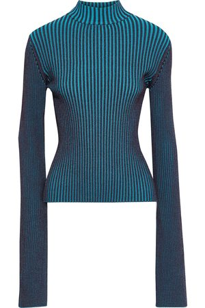 Solace Woman Dania Ribbed-knit Sweater Turquoise Size 10