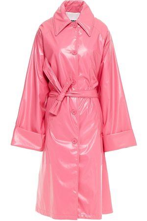 MM6 MAISON MARGIELA Woman Belted Vinyl Trench Coat Bubblegum Size 40