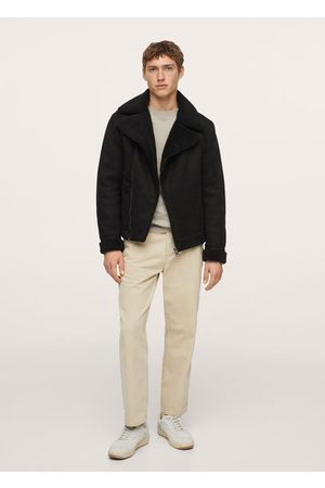 MANGO Faux shearling aviator jacket