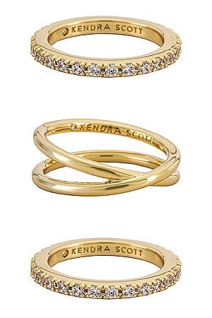 Kendra Scott Livy Ring Set in Metallic .