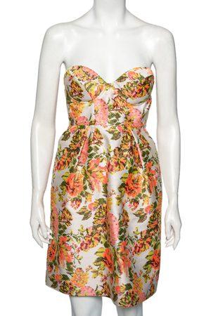 Stella McCartney Metallic Neon Floral Jacquard Ridley Strapless Mini Dress S