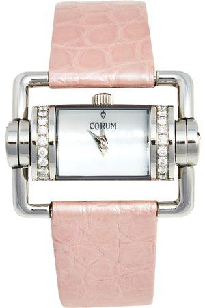 Corum Mother of Pearl Stainless Steel Crocodile Leather Diamond Horizontal 130.330.47 Women's Wristwatch 24 mm