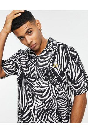 Fred Perry Men Short sleeves - Zebra print camp collar short sleeve shirt in