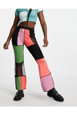 The Ragged Priest High waisted flares in patchwork rib-Multi