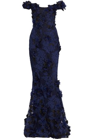 Marchesa Women Strapless Dresses - Embroidered Off-The-Shoulder Couture Gown