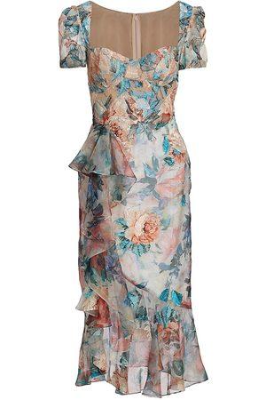 Marchesa Women Asymmetrical Dresses - Embroidered Asymmetrical Couture Midi-Dress