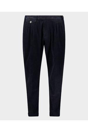 Paul & Shark Men Stretch Pants - Stretch cotton corduroy double pleated trousers