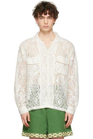 BODE Men Long sleeves - Off-White Quaker Lace Long Sleeve Shirt