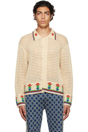 BODE Men Cardigans - Off-White Crochet Potted Flower Cardigan