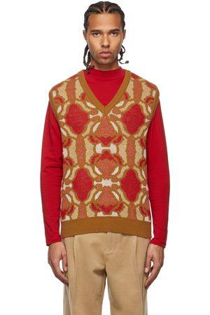 Lukhanyo Mdingi Men Tank Tops - SSENSE Exclusive Tan & Red Metallic Vest