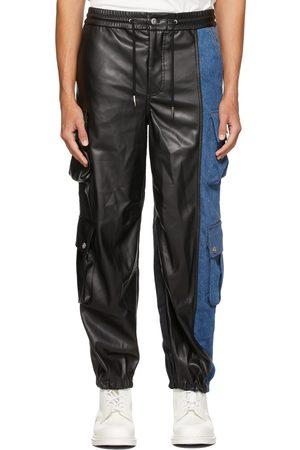 Feng Chen Wang Men Cargo Pants - Black & Blue Faux-Leather Denim Cargo Pants