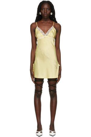 Nodress Women Party Dresses - Yellow Lace Trim Mini Dress