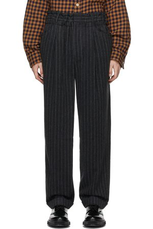 Bed J.W. Ford Grey Striped Over-Waist Wide Trousers
