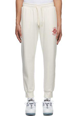 Casablanca Men Sweats - Off-White Casa Sport Embroidered Lounge Pants