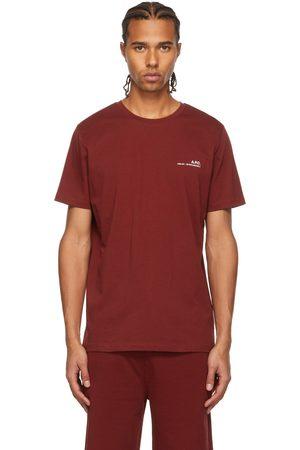 A.P.C. Men T-shirts - Burgundy Logo T-Shirt
