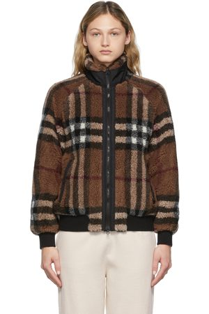 Burberry Women Fleece Jackets - Brown Lambeth Check Jacket