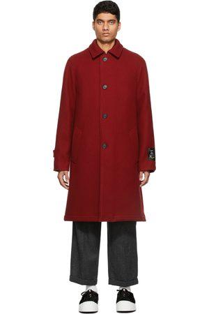Marni Men Coats - Burgundy Felted Wool Coat