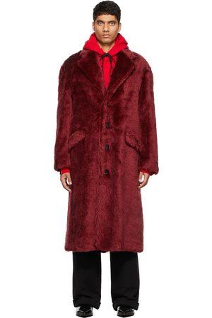 Marni Men Jackets - Burgundy Faux-Fur 4 B Furry Coat