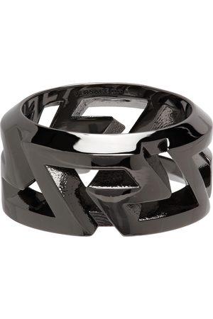VERSACE Men Rings - Gunmetal Greca Ring