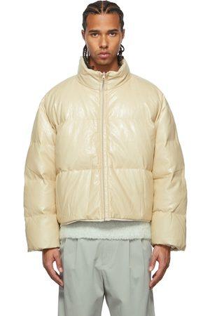 AMOMENTO Men Leather Jackets - Reversible Down Vegan Leather Puffer Jacket