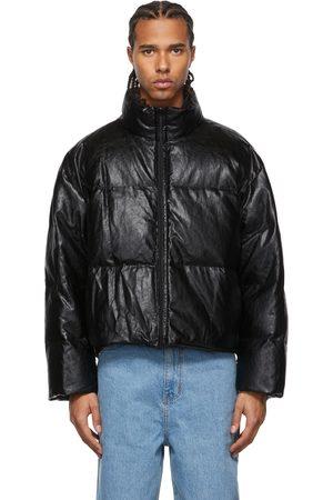AMOMENTO Reversible Down Vegan Leather Puffer Jacket