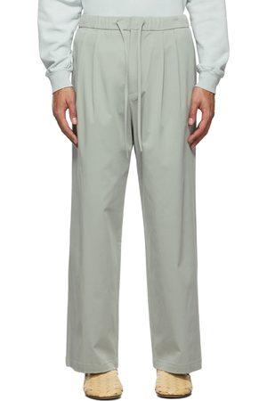 AMOMENTO Men Wide Leg Pants - Blue Drawstring Wide Trousers