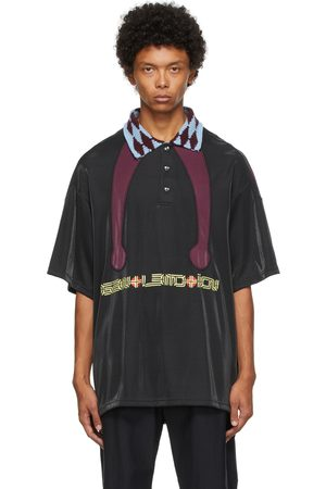 NAMESAKE Men Polo Shirts - Black & Burgundy Masa Contrast Polo