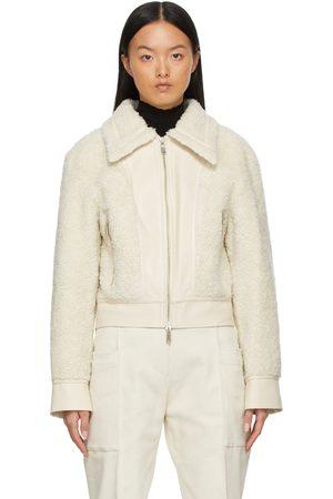 Foundrae Women Fleece Jackets - Off-White Sherpa Fleece Biker Jacket