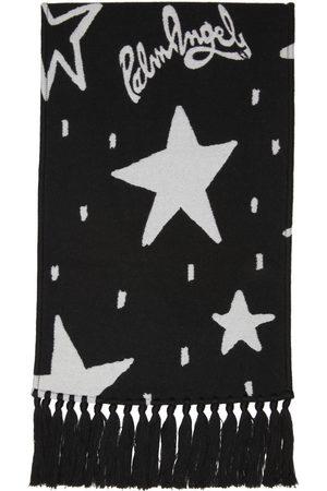 Palm Angels Black & White Wool Jacquard Night Sky Scarf