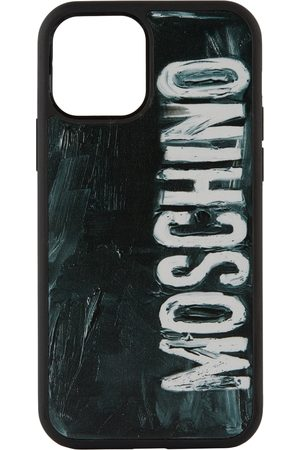 Moschino Phones Cases - Black Painted Logo iPhone 12/12 Pro Case