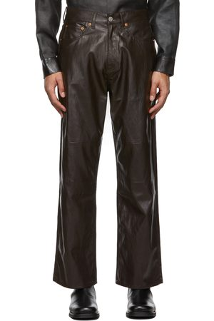 OUR LEGACY Men Leather Pants - Brown Extended Third Cut Faux-Leather Pants