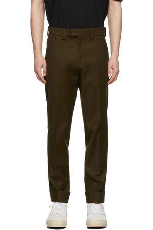 Agnona Men Skinny Pants - Khaki Twill Slim Trousers