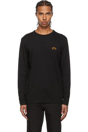 HUGO BOSS Men Long Sleeve - Black Togn Curved Long Sleeve T-Shirt