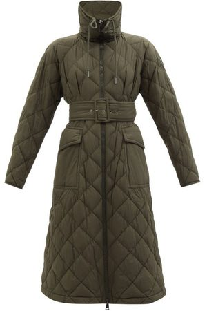 Moncler Caprier Hooded Quilted Down Coat - Womens - Khaki
