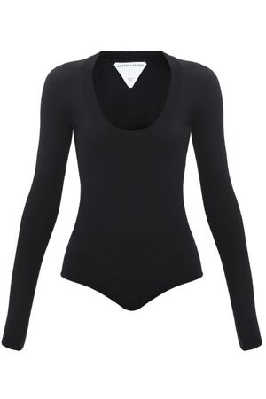 Bottega Veneta Scoop-neck Long-sleeve Cashmere-blend Bodysuit - Womens
