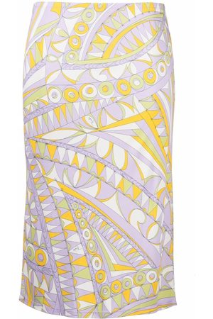 Emilio Pucci Women Printed Skirts - Graphic-print straight skirt