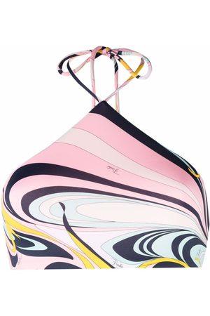 Emilio Pucci Women Bikinis - Onde-print halterneck bikini top