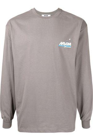 Msgm Men Long Sleeve - Logo-print longsleeved top - Grey