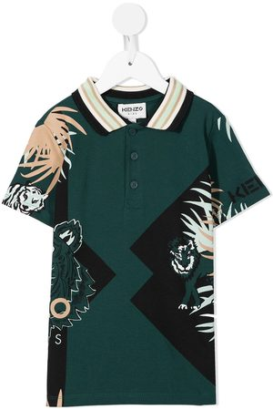 Kenzo Boys Polo Shirts - Leaf-print short-sleeved polo shirt