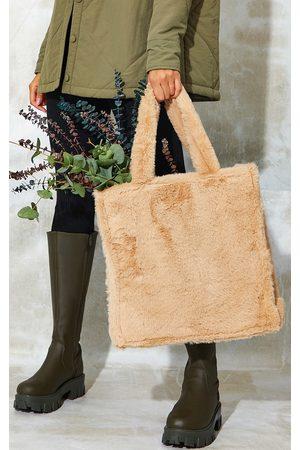 PRETTYLITTLETHING Women Purses - Camel Soft Faux Fur Large Tote Bag