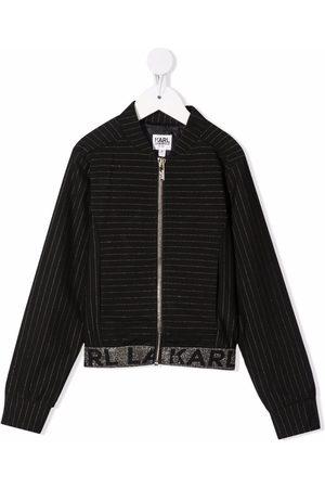 Karl Lagerfeld Pinstripe logo bomber jacket